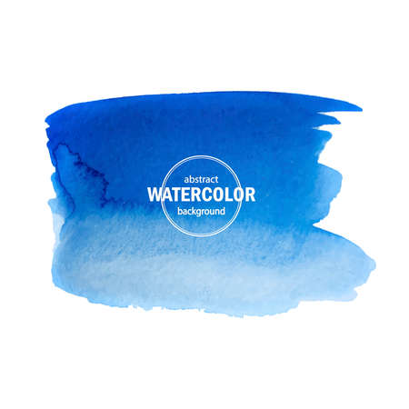 Illustration for Blue watercolor blot spread to the white background. Abstract vector composition for the modern design, watercolors texture, brush strokes - Royalty Free Image