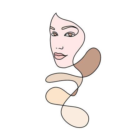 Illustration pour Portrait of a beautiful woman Abstract minimalistic linear sketch. Woman s face. Vector hand drawn illustration, Continuous line drawing - image libre de droit