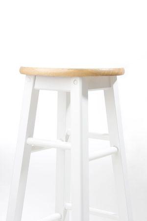 White bar stool over white background. Studio shot.