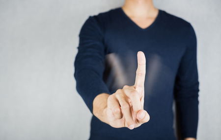Motion of No sign by index finger, reject body gesture concept