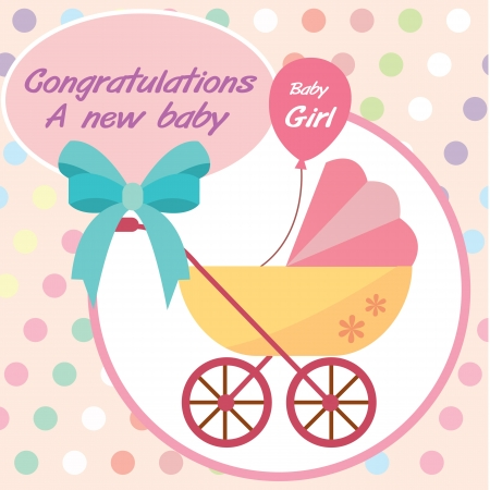Illustration for card new born baby girl - Royalty Free Image