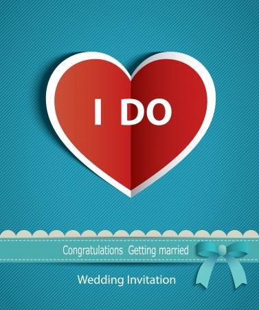 Foto de wedding card in the form of heart paper with ribbon   - Imagen libre de derechos