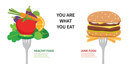 Food concept  you are what you eat. Choose between healthy food and junk food