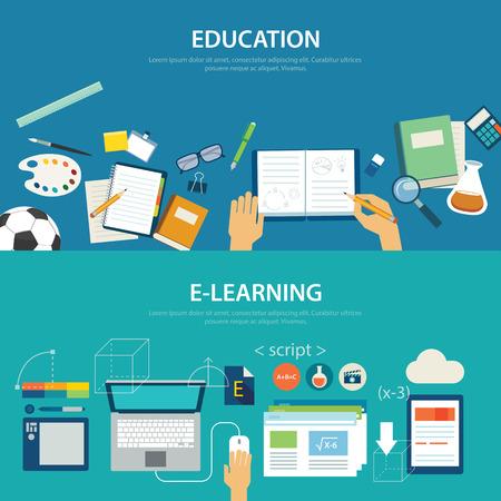 Illustration pour concepts of education and e-learning flat design - image libre de droit