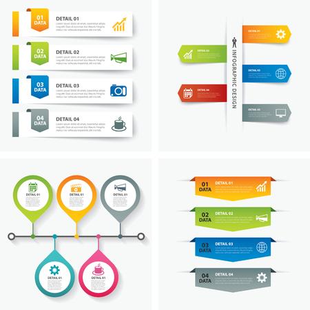 Ilustración de set of infographic templates flat design - Imagen libre de derechos