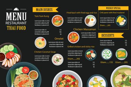 Illustration pour vector thai food restaurant menu template flat design - image libre de droit