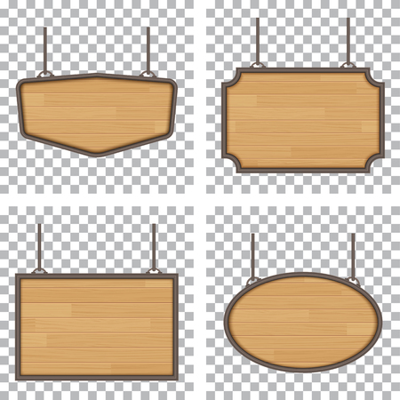 Illustration pour set of vector wooden sign isolated on white background - image libre de droit