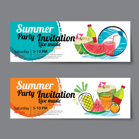 Ilustración de summer pool party ticket template - Imagen libre de derechos