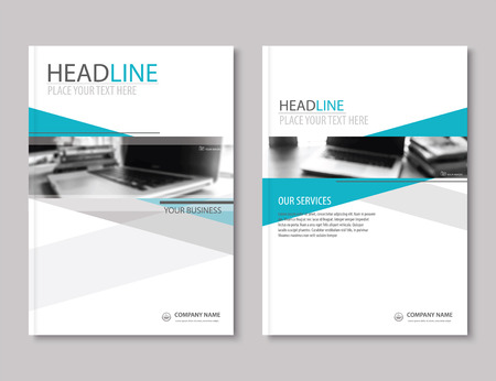 Illustration for Annual report brochure flyer design template. Company profile business headline.Leaflet cover presentation flat background. - Royalty Free Image