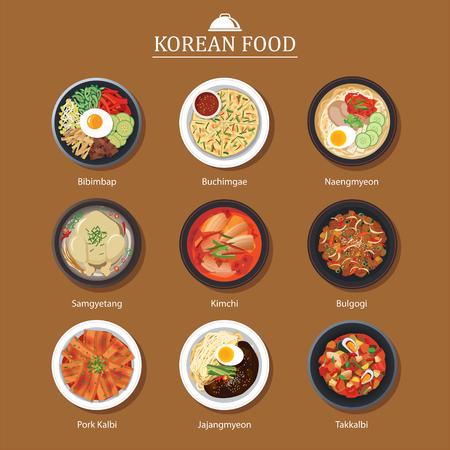 Vektor für Set of korean food flat design. Asia street food illustration background. - Lizenzfreies Bild