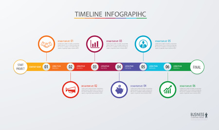 Ilustración de Infographic timeline template business concept.Vector can be used for workflow layout, diagram, number step up options, web design ,annual report - Imagen libre de derechos