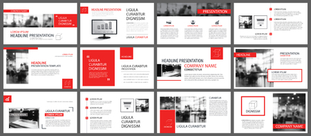 Illustration for Red and white element for slide infographic on background. Presentation template. Use for business annual report, flyer, corporate marketing, leaflet, advertising, brochure, modern style. - Royalty Free Image