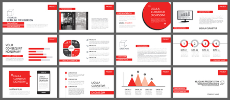 Illustration pour Red presentation templates for slide show background. Infographic elements for business annual report, flyer, corporate marketing, leaflet, brochure and banner. - image libre de droit