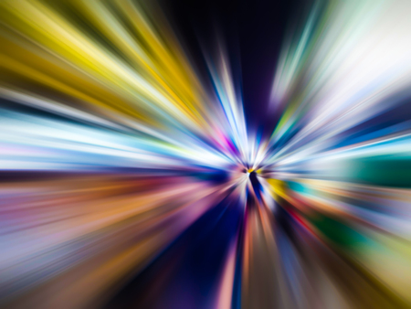 Photo for Abstract speed motion blur in city on night road and neon light. - Royalty Free Image