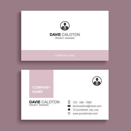 Illustration pour Minimal business card print template design. Pastel pink color and simple clean layout. - image libre de droit