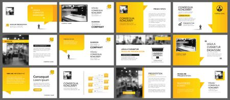 Photo pour Presentation and slide layout template. Design yellow gradient in paper speech shape background. Use for business annual report, flyer, marketing, leaflet, advertising, brochure, modern style. - image libre de droit