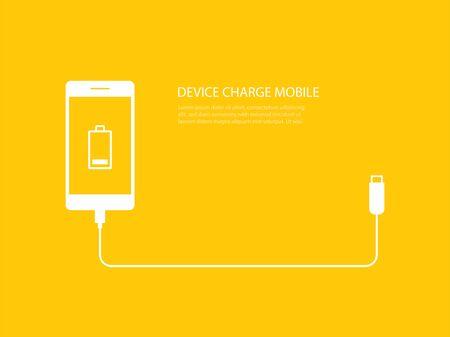 Ilustración de Tech device charge battery mobile phones with usb cable connect on yellow background. - Imagen libre de derechos