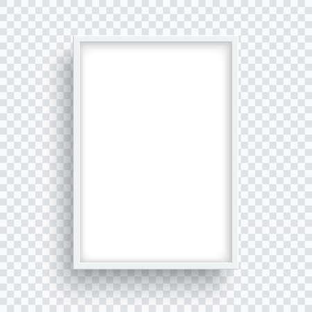 Illustration pour Rectangle white frame isolated on transparent background. - image libre de droit