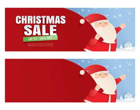 Ilustración de Santa claus and a huge bag of gifts with christmas sale promotion. - Imagen libre de derechos