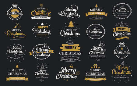 Illustration pour Merry christmas and happy new year typography label with symbols design set. Use for sticker, badge, crafts, greeting card. - image libre de droit