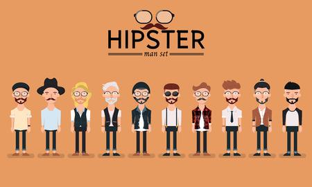 Ilustración de Hipster style bearded man, character set collection-vector illustration - Imagen libre de derechos