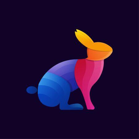 Illustration pour colorful rabbit gradient artwork  template - image libre de droit