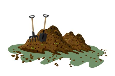 Illustration for Pile of soil isolated on white background. Hayfork and shovel in a pile of ground. Heap of substrate, humus, fertilizer, compost. Hill of earth or dirt. Bunch of manure. Landscape, nature, farming. Zero waste. Stock vector - Royalty Free Image