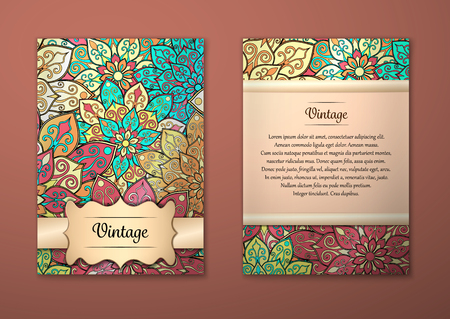 Ilustración de Vintage cards with Floral mandala pattern and ornaments. Vector Flyer oriental design Layout template, size A5. Islam, Arabic, Indian, ottoman motifs. Front page and back page. Easy to use and edit. - Imagen libre de derechos