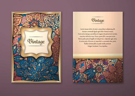 Illustration pour Vintage cards with Floral mandala pattern and ornaments. Vector Flyer oriental design Layout template, size A5. Islam, Arabic, Indian, ottoman motifs. Front page and back page. Easy to use and edit. - image libre de droit