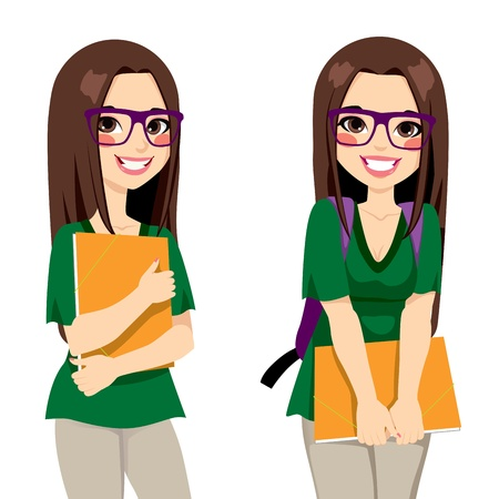 Illustration pour Cute teenage girl student with nerdy style glasses holding an orange folder ready to go back to school - image libre de droit