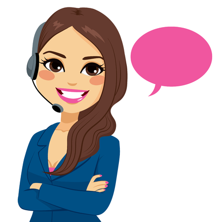 Illustration pour Portrait of happy smiling latina call center operator woman on support phone with headset isolated on white background - image libre de droit