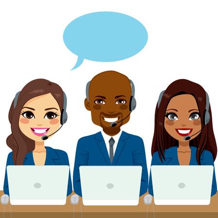 Illustration pour International call center service team of different ethnicities - image libre de droit