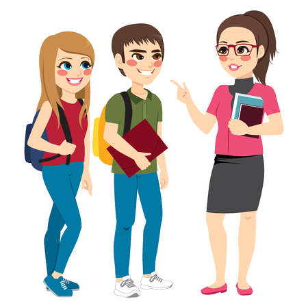 Illustration pour Teacher talking with young teenager students standing - image libre de droit