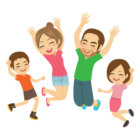Illustration for Young active happy smiling family jumping together isolated - Royalty Free Image