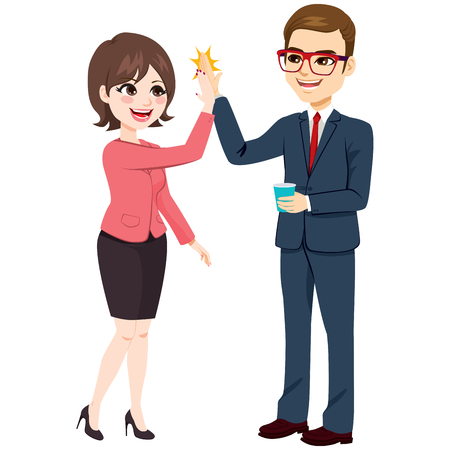 Illustration for Happy excited businesswoman and businessman making high five with hands - Royalty Free Image