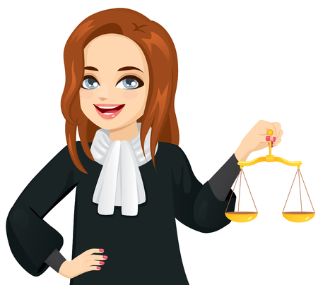 Illustration for Young female judge holding golden justice scale - Royalty Free Image