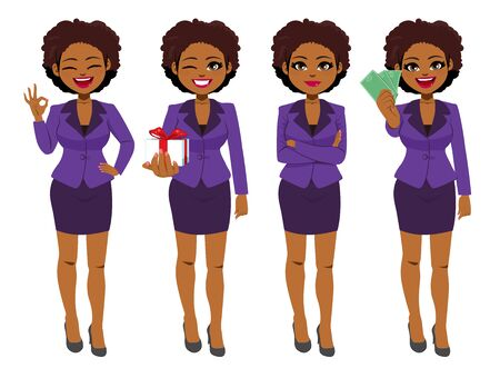 Illustration for Beautiful young African American Black businesswoman set collection standing in different poses - Royalty Free Image
