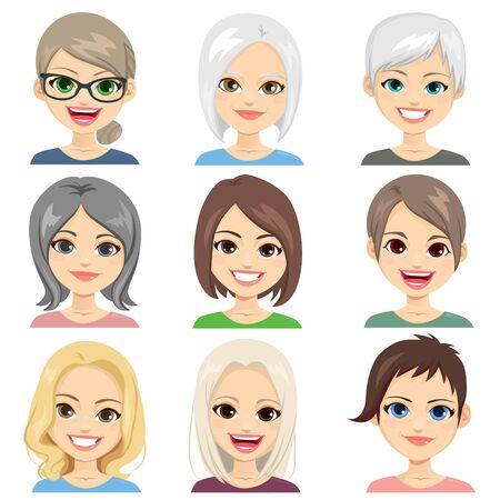 Illustration pour Middle aged and senior women avatar face set collection - image libre de droit