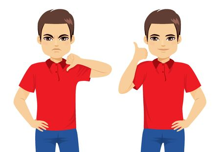 Illustration for Man doing good and bad hand sign thumbs up or thumbs down disagreement agreement concept - Royalty Free Image