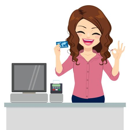 Illustration for Beautiful female clerk holding credit card and making ok sign with hand - Royalty Free Image