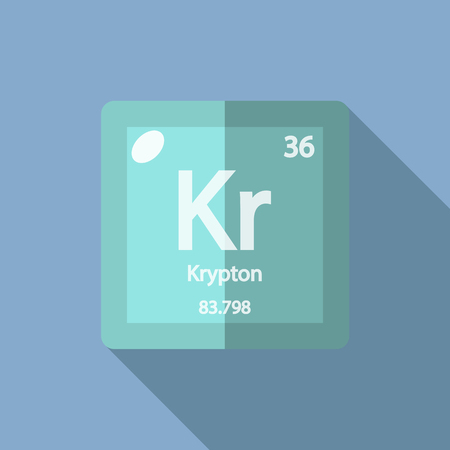 Chemical element Krypton. Flat design style modern vector illustration. Isolated on background. Elements in flat design.