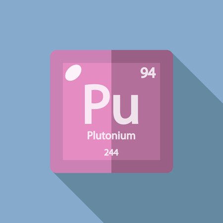 Chemical element Plutonium. Flat design style modern vector illustration. Isolated on background. Elements in flat design.