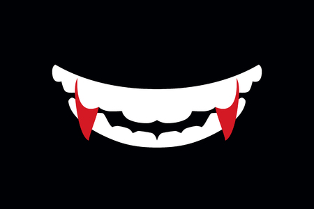 Illustration pour Vampire mouth with fangs. False vampire fangs. Vector flat art illustration of Halloween. - image libre de droit