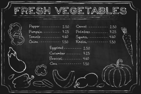 Illustration pour blackboard vegetables. Rustic blackboard menu with hand drawn vegetables on chalkboard. - image libre de droit