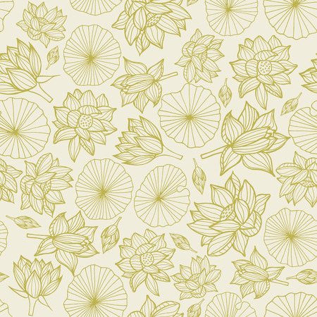 Illustration pour Waterlilies or lotus flowers and leaves seamless pattern background texture in a monochrome lineart style. Vector.. Ideal for home decor, fabric, paper goods, packaging. - image libre de droit