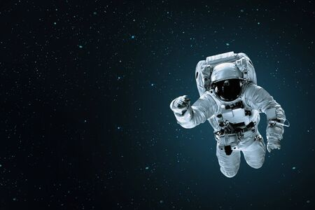 Foto de astronaut flies over the earth in space. - Imagen libre de derechos