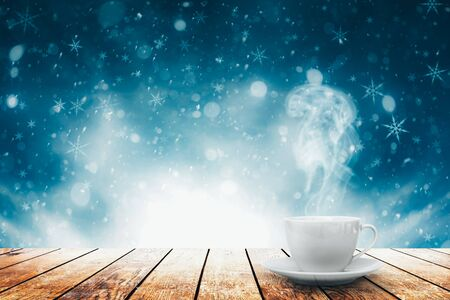 Photo pour hot coffee on the table on a spring background - image libre de droit