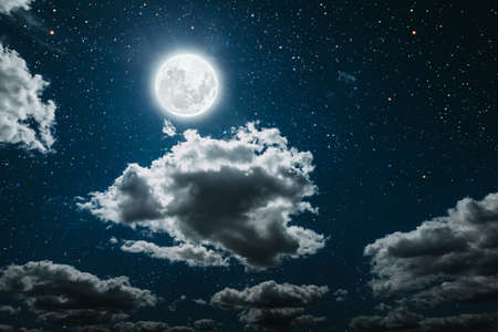 Photo pour backgrounds night sky with stars and moon and clouds. - image libre de droit