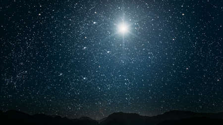 Photo for The star shines over the manger of christmas of Jesus Christ. - Royalty Free Image