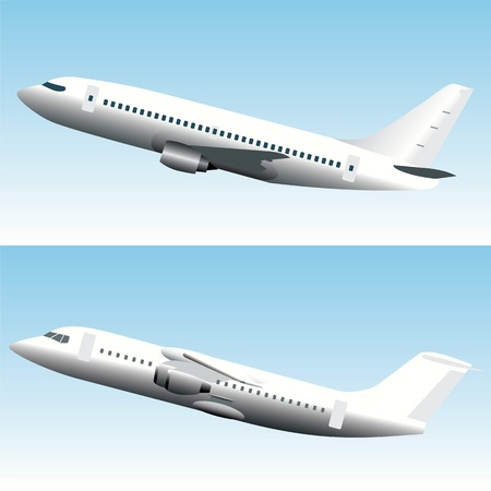 Blanc commercial jet airplanes